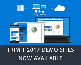 TRIMIT Partners can now request 2017 Demo Sites. New features have been added: One Login, 2 New Portals, Unlimited Additional Users, and Expired Buffer.