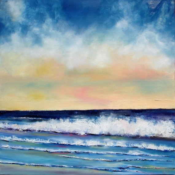 Beach painting cobalt blue and pale yellow by NancyHughesMiller, $285.00