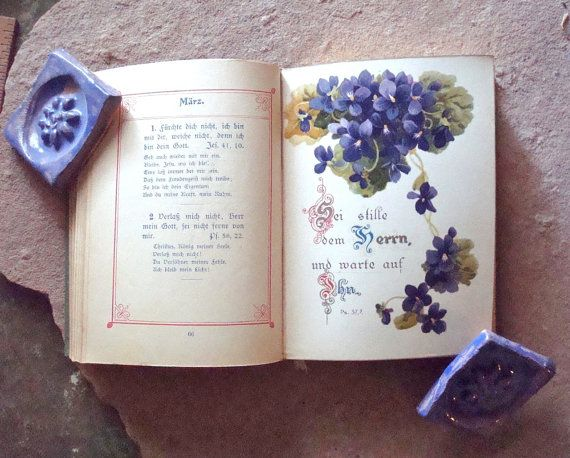 """This is a miniature, antique hardcover book, Christian Forget Me Not ~ Illustrated Edition or Christliches Vergissmeinnicht - Illustrierte Ausgabe. Written entirely in German using an old German gothic style font.  A """"forget me not"""" book is a kind of friendship book. This book has a pious quotation for every day of the year. A friend would put his or her name and year of birth on the date of his or her birthday, so you will never forget your friend's birthday. Every month has a beautiful…"""