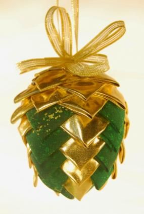 Folded fabric pinecone ornament - See My Documents for the instructions.