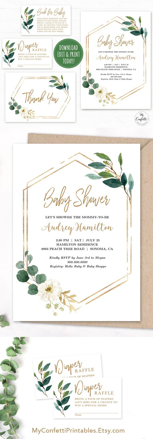 EDITABLE Greenery Baby Shower Invitation Template Printable