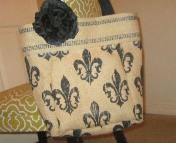 Burlap tote bag fleur de lis by bbellecouture on etsy 48 for Decorative burlap bags