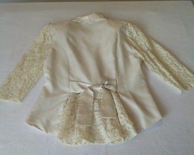 Vintage Retro Ladies Jacket 80s 90s Lace Formal Evening Cream Ivory Pit 48cm