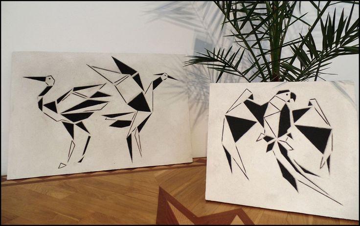 Obraz  ptaki inspirowany origami- rysunek wycięty w technice sgraffito