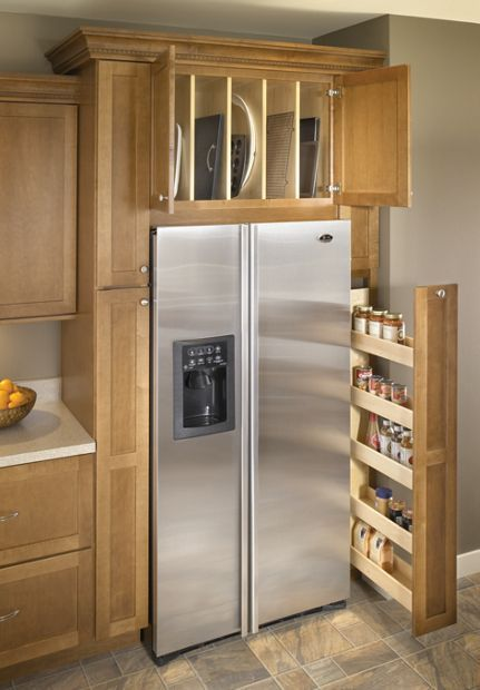 Medallion at Menards Cabinets | Tray Divider and Pull-Out  Storage - LOVE this for above the fridge!