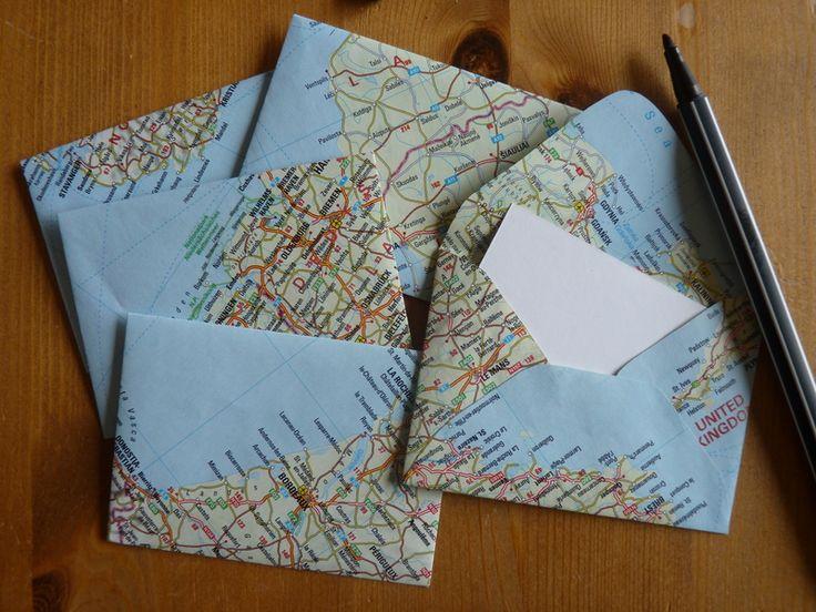 mini umschl ge aus landkartenpapier 5er set liebe. Black Bedroom Furniture Sets. Home Design Ideas