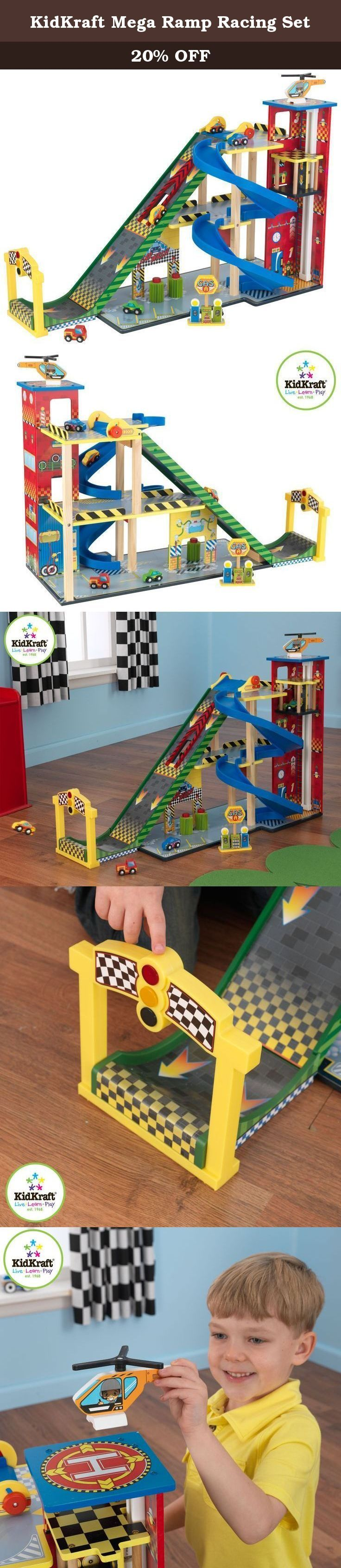 """KidKraft Mega Ramp Racing Set. The Kid Kraft Mega Ramp Racing Set gives young kids an awesome one-stop shop for all of their favorite toy cars. It's a speedy ramp, a parking garage, an elevator, a car wash and a gas station all in one convenient package. The centerpiece of this jumbo-sized racing set is its three-level """"Mega Ramp,"""" which launches cars high in the air after they build up momentum. There's even a launch pad that kids lower to let the cars go, guaranteeing that they take off…"""