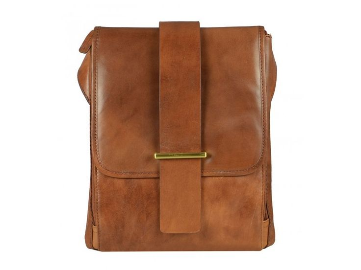 Light Brown Leather Messenger Bag for Men and Women - Pinocchio