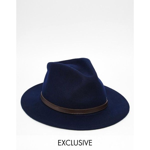 Reclaimed Vintage Fedora With Leather Detail ($85) ❤ liked on Polyvore featuring men's fashion, men's accessories, men's hats, navy, mens wide brim fedora hats, mens wide brim hats, mens fedora hats, mens wool fedora hats and mens wool hat