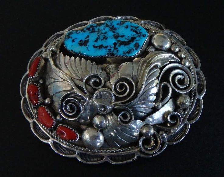 "Apachito Sterling Silver Belt Buckle Turquoise & Coral 3.5"" 97g 1.25"" Navajo M17"