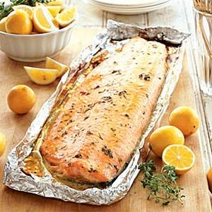 Grilled Salmon, with a glaze (butter, brown sugar, mustard, thyme, lemon juice