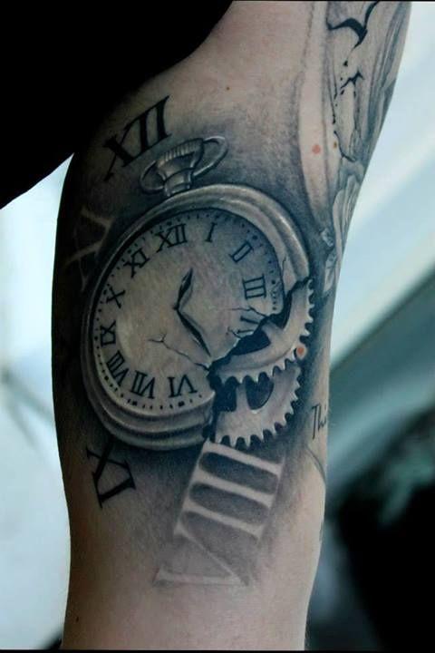 Bacanu Bogdan's Cracked Clock Tattoo #tattoo #tattoos #cheltenham #cheltenhamtattoo #realism #realistic #clock #melting #broken #breaking #time #no #regrets #studio #noregretsstudio