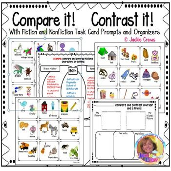 Compare and Contrast It is a pack of 27 FICTION & NONFICTION task cards with fiction and nonfiction writing organizers (example keys included) for strengthening the compare/contrast reading strategy. This product works for most elementary grade levels but I believe it is best for second through fourth grades.
