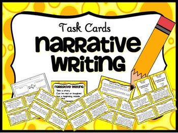 This product includes all you need for a writing center and can also be can be used with a whole class when teaching Narrative Writing. Includes  20 Task Cards with Narrative Writing Prompts 3 Graphic Organizers to choose from 1 Poster Narrative Writing 1 Steps to Writing a Narrative 1 Narrative Writing Checklist 2 Cheat Sheet lists Transition words and phrases $