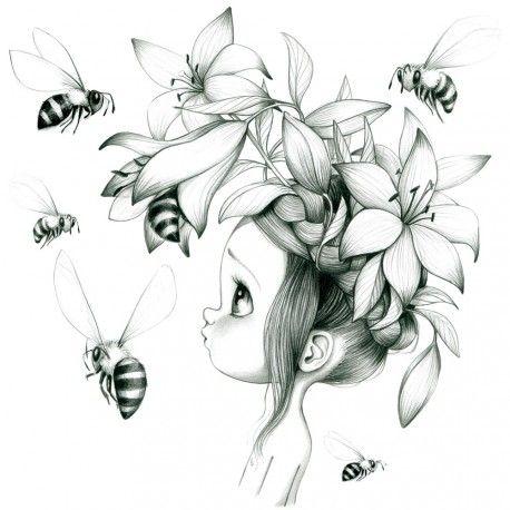 Tableau Wild Girl 09 Noir Et Blanc Deco Chambre Fille Dessin