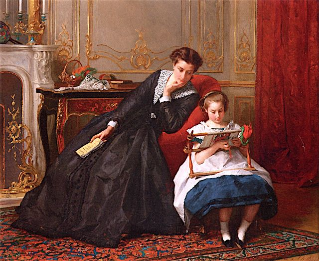 Embroidery frame, 1864. | 'An Embroidery Lesson' by Gustave-Leonard de Jonghe (Belgian, 1829 - 1893). Oil on panel painting from 1864 (44,45 x 55,25 cm).