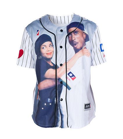 POST GAME Janet Jackson and Tupac Shakur baseball jersey POST GAME chest logo detail Crew neck Short sleeves REAL LOVE LUCKY JUSTICE on back Pinstripes