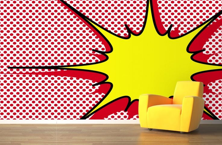 Our Red Dot Pop Art Explosion Wall Mural is a superbly colorful comic book rendition of an explosive scene. A bright yellow explosion is countered beautifully with that pop art staple, the polka dot background. This is a brilliant design with so much contrast in color that we fails to see how your home won't look anything less than amazing without this in it!