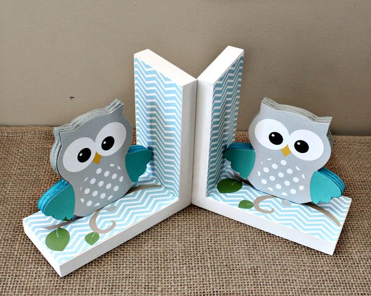Owl Bookends - Wooden Bookends - Owl Nursery Decor - Kids Room Decor - Animal…