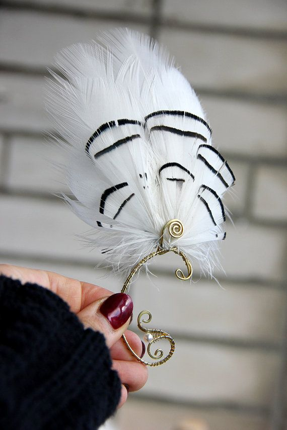 White Feather Ear Cuff December Snow White Feather Ear by Nastasy
