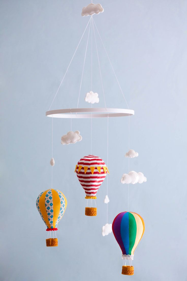 Hot Air Balloon Mobile - Baby Child Mobile - Custom - You Pick Fabric/Color.