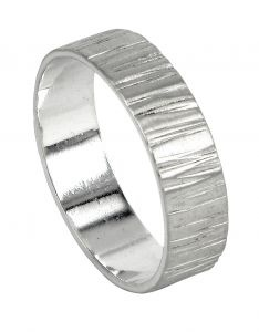 Bark textured ring with satin finish in sterling silver  $185