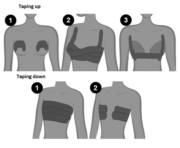 Tape breasts for gown