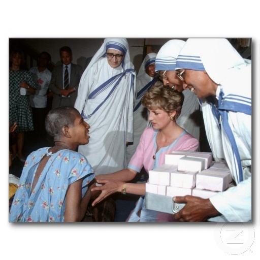 HRH Princess Diana with the sisters of Mother Theresa's Mission visiting the sick and homeless at