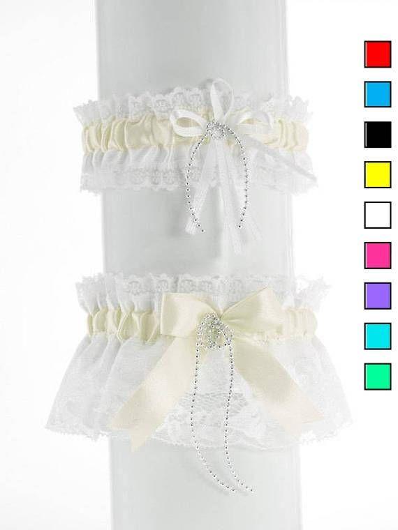 Wedding garter set bridal garter set white ivory lace