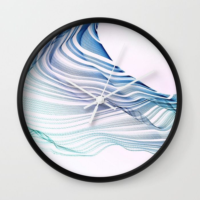 Buy 'Etherial Wave' - blue, mint & pale pink Wall Clock by Dominique Vari at Society6.com    | . Spontaneous drawing digitalised in an etherial abstract flowing wave. Modern minimal Art in pastels mint, blue on white & pale pink, uplifting & refreshing design. Perfect for all minimalists & Ocean Lovers. Spread the good vibes on your walls with this unique Wall clock design - Generative art #homedecor #wallclock #clock #walldecor #abstract #minimal #dominiquevari #flow #society6