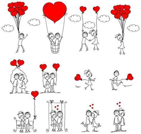 любовь,графика,девочки,мальчики, сердечки, воздущный шар, качели, контур, рисунок,EPS формат,JPG формат,День святого Валентина, дети, эскиз
