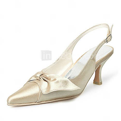 Top Quality Satin Upper High Heel Pumps With Bowknot Wedding Shoes/ Bridal Shoes - AUD $ 35.48