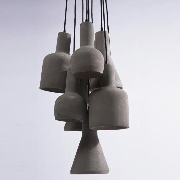 Pendule Pendul cu 9 becuri, cu abajururi din ciment cu forme diferite, creeaza in incaperea unde vor fi asezate un sarm solid. Pastrat in culoarea...