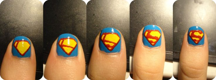 Step by step superman logo for nails