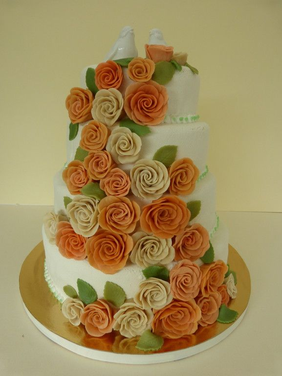 Hochzeitstorte Rosen Orange 2 Wedding Cake Hochzeitstorte Birds