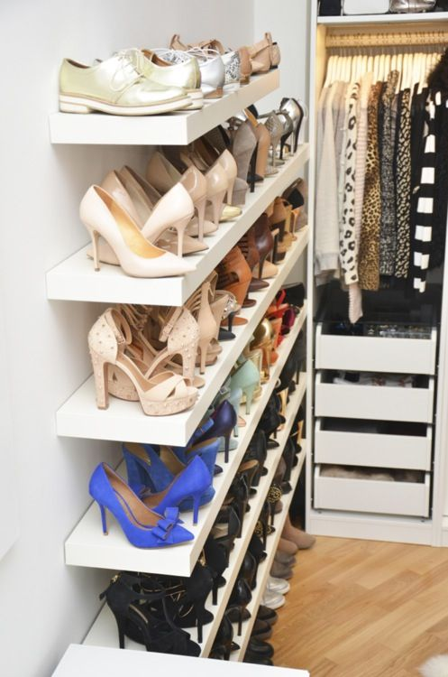 The perfect shoe shelves for my bedroom ~ Not enough shoes to fill them up? Add plants, treasures from around the world, photo frames ~ Red shoes No knickers
