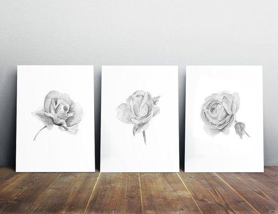 Roos schilderij  Rozen illustratie  zwart wit grijs  door ZenInks