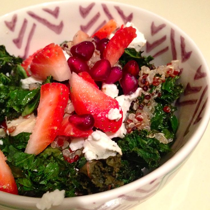 Quinoa Salad With Strawberries, Goat Cheese & Crispy Kale recipe on Food52