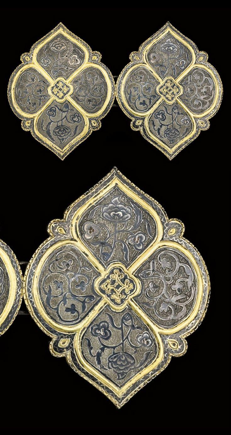 Turkey | Ottoman niello and gilt silver belt buckle | ca. 19th century | 1'125£ ~ sold (Oct '08)
