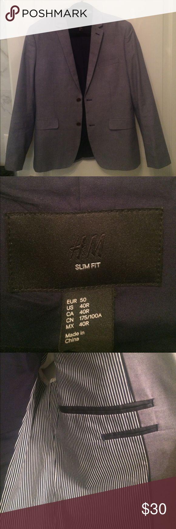 H&M SLIM FIT Blazer H&M SLIM FIT Blazer - Size: 40R - Blue - brown buttons - 6 pockets H&M Suits & Blazers Sport Coats & Blazers