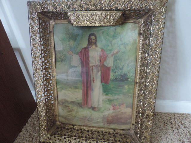 Vintage Framed Light Up Jesus Hologram picture Ornate frame Christ religious