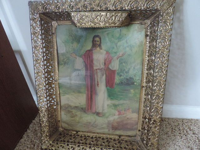 Vintage Framed Light Up Jesus Hologram picture Ornate frame Christ religious
