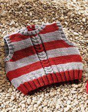 Heft extra Merino 100% 3 Herbst / Winter | 24: Baby Weste | Mittelgrau / Rubinrot