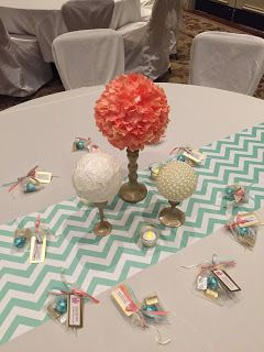 Gold, Coral & Mint Wedding DIY wedding Centerpieces Pearls, Lace, and hydrangeas