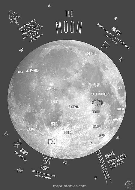 printable moon poster with the lunar craters, Apollo 11 landing location + interesting facts to talk about with kids.