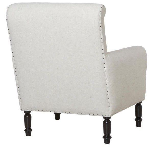 Romero Masculine White Library Accent Chair ($2,263) ❤ liked on Polyvore featuring home, furniture, chairs, accent chairs, white chair, nailhead accent chair, white nailhead chair, nailhead furniture and nailhead chair