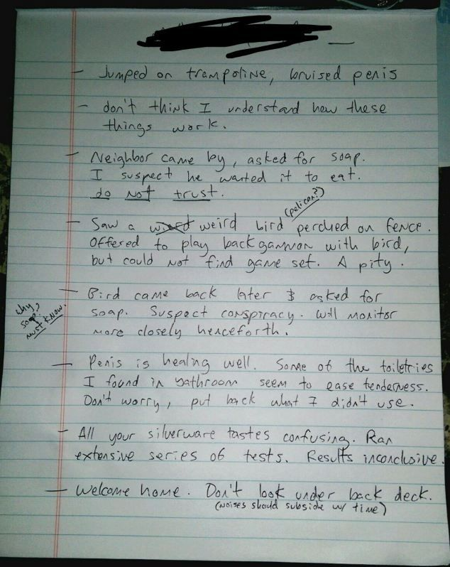House sitter leaves bizarre note for owners