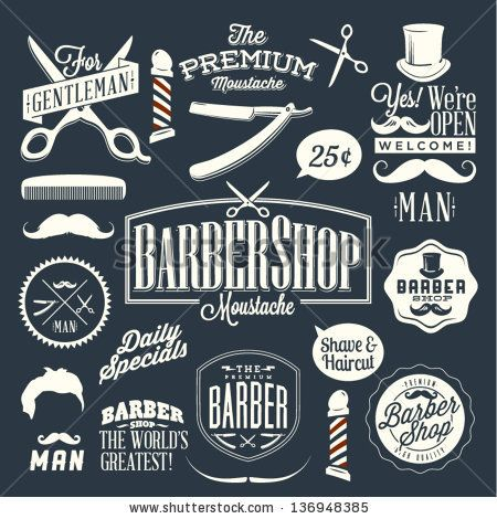 Set of vintage barber shop labels, graphics and icons by Noka Studio, via ShutterStock
