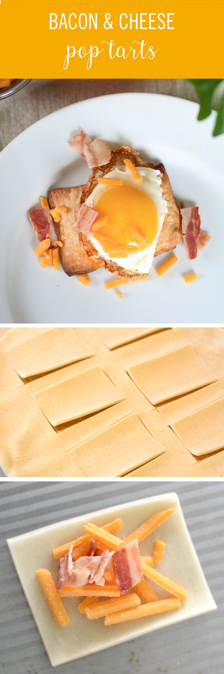 These Homemade Bacon Cheddar Pop Tarts are a perfect savory breakfast. The pop tart dough is made with store-bought pie crust, filled with cooked bacon and a little cheese. Then, once baked, top them with more cheese, crumbled bacon, and sometimes, a fried egg. The 4-ingredient recipe is super simple, and so fun to make!