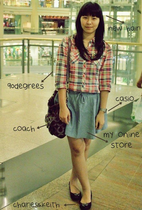 plaid x denim  , 90Degrees in Shirt / Blouses,  in Skirts, Charles & Keith in Flats, Coach in Bags, Casio in Watches